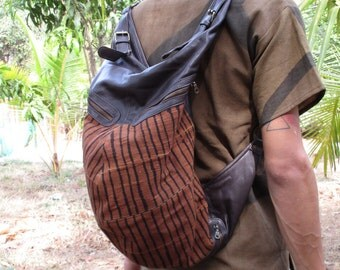 Tribal turtle backpack leather