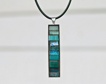 Teal Blue Jewelry, Pendant Necklace, Mosaic Pendant, Unique Gifts for Women
