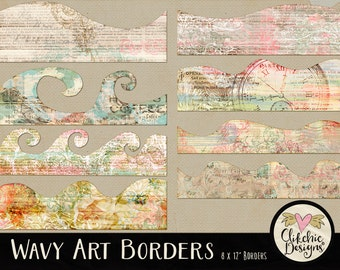 Border Clipart, Shabby Digital Scrapbook Clip Art Borders Embellishments - Digital Paper Borders Clip Art, Vintage Border Clip Art