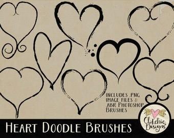 Heart Clipart Photoshop Brushes Clip Art - Heart Doodle Photoshop Brushes & Digital Stamps Embellishments