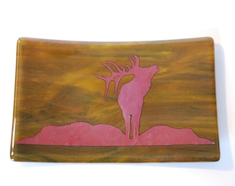 Fused Glass Plate with Elk in Copper Foil and Streaky Brown Glass