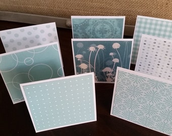 """Mini Note Cards; 3"""" x 3"""" Cards; Stationery Set; Gift Enclosures; Shades of Blue"""