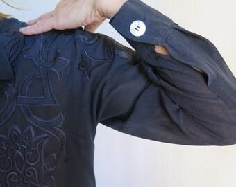 Escada Blouse//Navy Silk Blouse