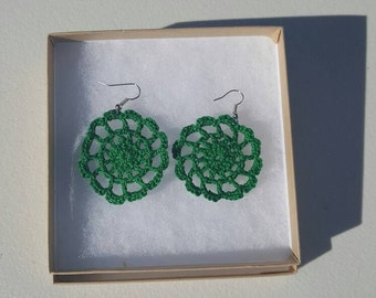 Medallion Earrings in Forest Green with Gift Box, accessories, circular earrings, handcrafted