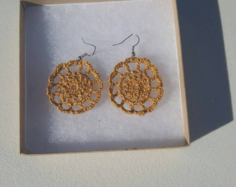 Medallion Earrings in gold  with Gift Box, accessories, circular earrings, handcrafted