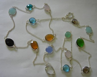 48 inches Hand Made Silver Plated Various Colors Glass Bezel Set Necklace