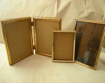 3 or 4 gold metal frames-1 double-2 singles-photos gallery-baby photos-wall display-wedding table-retro-