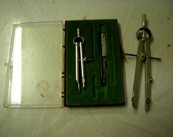 2 vintage calipers-protractor-caliper in box-architect-drawing-artists-drafting-