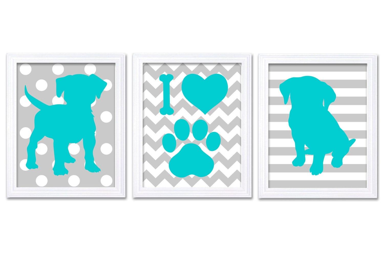 Puppy Dog Nursery Art Puppy Prints Set of 3 Prints Turquoise Blue Grey Stripes Chevron Polka Dots Ba