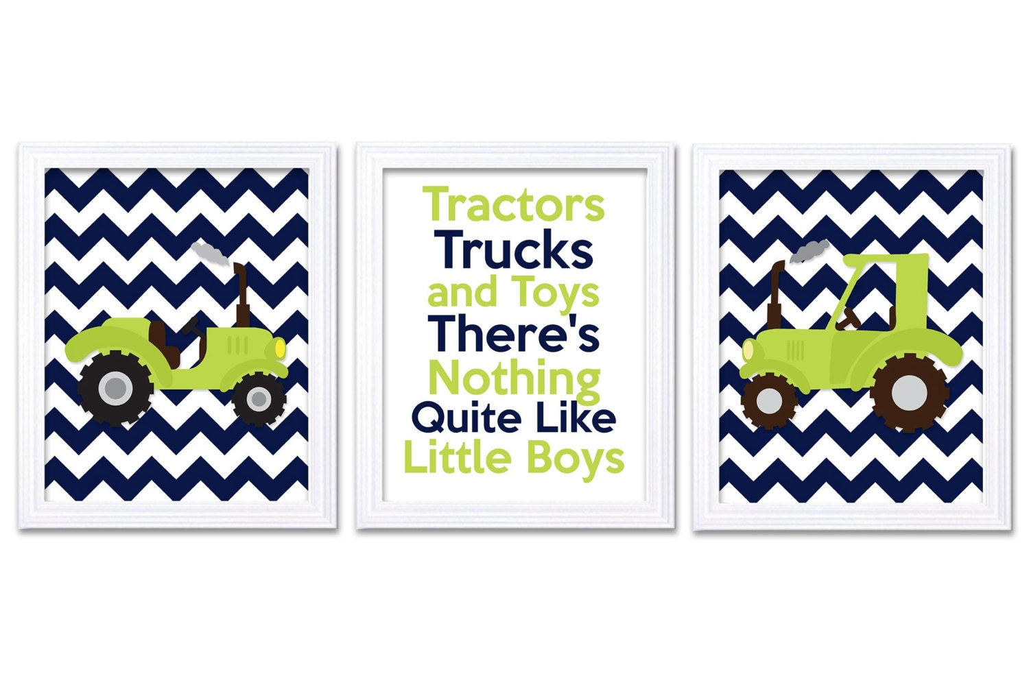 Nursery Art Tractors Trucks and Toys Theres Nothing Quite Like Little Boys Print Set of 3 Navy Blue
