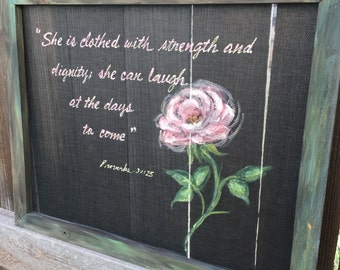 She is Clothed with strength , special customer order ,mother's day gift idea,hand painting