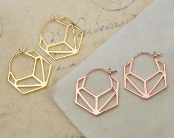 Earrings - Geometric Earrings - Gold Earrings - Minimal Earrings - Hoops - Hoop Earrings, Simple Earrings, Modern Earrings, Rose Gold Hoops