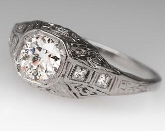 1920's Filigree 1/2 Carat Old European Cut Diamond Platinum Engagement Ring WM10455