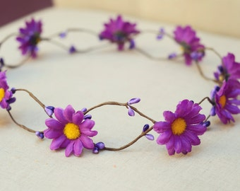 THE IRIS Purple Flower Halo Woodland Crown Double Vine Flower Girl  Hair Jewelry Hair Accessories Boho Floral Crown Hawaiian Christmas Crown