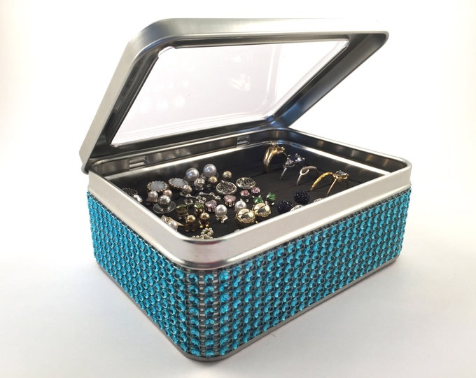Tin Jewelry Box - Turquoise Blue Jeweled Ribbon - Earring Organizer - Travel Earring Box