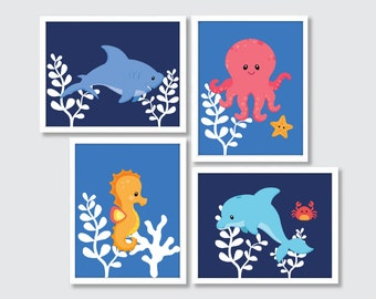 Sea Animals Nursery Art, Sea Life Art Prints, Under The Sea Nursery Decor, Sea Animals Bathroom Decor, Nautical Wall Art, Ocean Art Print