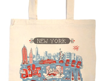 NYC Tote Bag-City Tote-City Bag-New York City-Any City Tote-Red-Blue-Grey--Personalized-Custom