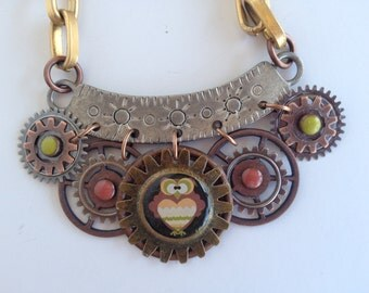 Owl Mixed Metal Steampunk Necklace