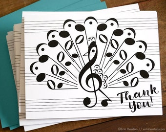 Music THANK YOU Cards / Set of 8 music note PEACOCK cards / Thank you notes / Music cards / Music teacher gift / Piano teacher gift