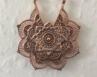 18K Rose Gold Plated copper  Mandala earrings, LA FLOR,hook tribal earrings  (326)