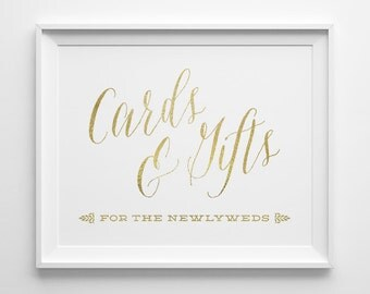 Wedding Signs Gold, Wedding Cards and Gifts Sign, Newlyweds Gift Table Sign, Matte Gold Wedding Reception Sign, Wedding Card Box Sign, WS1G