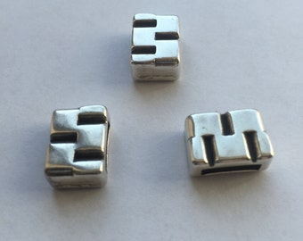 10mm Flat Brick work pattern slider, Antique Silver, per each