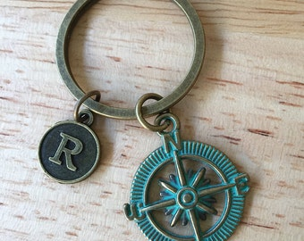 Compass Keychain / Patina Compass/ Compass Key Chain/  Compass Patina Keyring/ Compass Key Ring/ Across the Miles/ Travel Gift/ Nautical