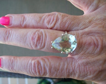 Genuine Green Amethyst Prasiolite Pear Ring Sterling Silver - 18x13 mm size 6,7, or 8