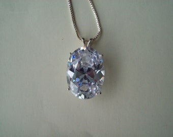 HUGE Created Diamond Pendant in Sterling Silver Setting with Chain - 25x18mm