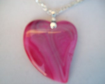 """Hot Pink Striped Agate Heart pendant with chain 2-1/4"""" long"""