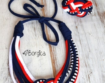 Nautical knot - upcycled multistrand necklace with bracelet fiber jewelry, eco friendly necklace, colorful jersey stripes