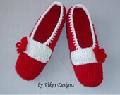 Christmas Crochet Slippers, Women House Shoes, Red White Indoor Slippers, Santa Slippers by Vikni Designs