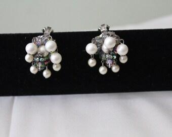 Signed Hobe Aurora Borealus & Pearl ClipOn Earrings