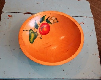"Vintage Hand Painted Wood Fruit Bowl, 11.25"" Diameter Vegetables Painted on The Inside of Bowl"
