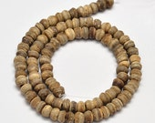 "Natural Coconut Abacus Bead Strands, Goldenrod, 5~8 x 5~7mm, Hole: 2mm; about 108pcs/strand, 15""    113"