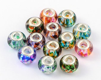 Splattered Pattern - Spray Painted Glass European Beads, with Silver Brass Cores, Large Hole, Rondelle, Mixed Color, 15x12mm Hole: 5mm 091
