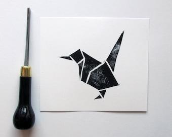 Handprinted Bird Linocut Print