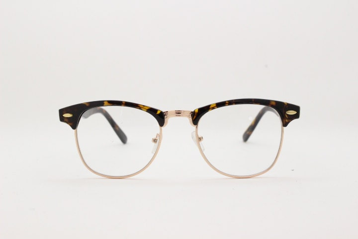 Clubmaster vintage style browline clear lens half frame