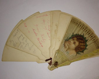 Antique, circa 1880s victorian  paper fan with HANDWRITTEN notes