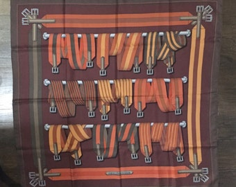 """Authentic Hermes Scarf """"Sangles"""" in Brown from 1985"""