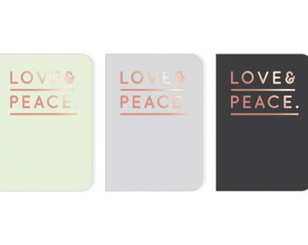 Notebook - love & peace in grey/black/Mint with Rosé gold