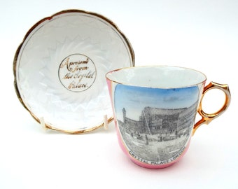 Crystal Palace Tea Cup, Antique Souvenir Ware, Small London  Cup  Saucer, Pink Lustreware Tea Cup, Crystal Palace, Houses of Parliament Cup