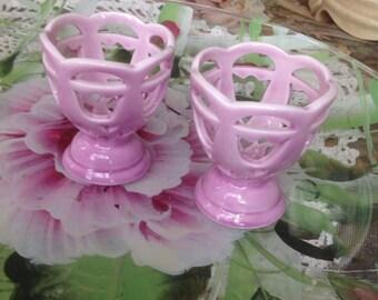 Vintage Pink Egg Cups