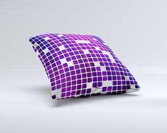 The Dark Purple Squares Pattern ink-Fuzed Decorative Throw Pillow