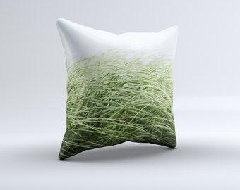 Grassy Field ink-Fuzed Decorative Throw Pillow