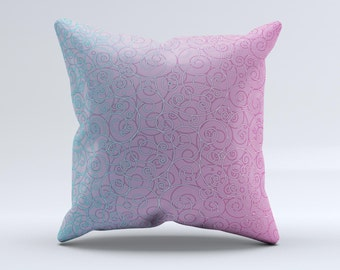 The OverLock Pink to Blue Swirls ink-Fuzed Decorative Throw Pillow