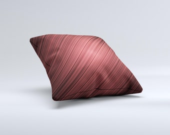 The Red Diagonal Thin HD Stripes ink-Fuzed Decorative Throw Pillow