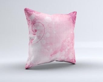 The Grungy Pink Painted Swirl Pattern ink-Fuzed Decorative Throw Pillow