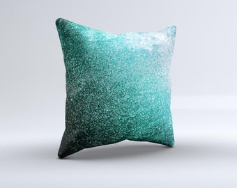 The Grungy Teal Texture ink-Fuzed Decorative Throw Pillow