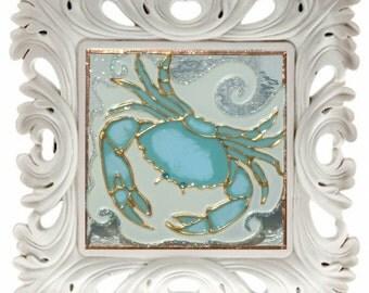 original framed crab mixed media glass art decor coastal decor beach theme ocean coastal